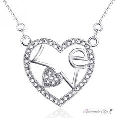 Collier Herz LOVE mit Zirkonias pave aus 925 Silber inkl. Kette im E