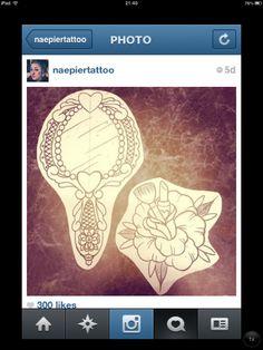 glass tattoo with make up brush and lipstick  Not my drawings hopefully my future tats