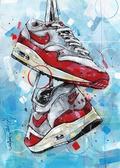 Air Max 1, Nike Air Max, Summer Art Projects, Acrylic Painting On Paper, Sneaker Art, Best Gaming Wallpapers, Digital Painting Tutorials, Canvas Prints, Art Prints