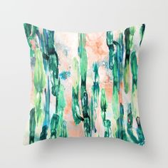 Sunset Cactus Throw Pillow
