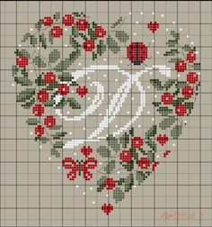 Letter N Crossstitch Cross Stitch Alphabet Patterns, Embroidery Alphabet, Cross Stitch Letters, Just Cross Stitch, Cross Stitch Heart, Cross Stitch Samplers, Cross Stitch Designs, Cross Stitching, Cross Stitch Embroidery