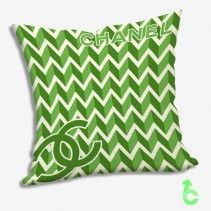 Chanel Zigzag Green Chevron Pattern Pillow Cases