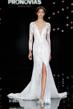 Long Sleeve Lace Wedding Dress with Plunging Neckline from Atelier Pronovias