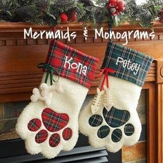 Dont forget all the family members at Christmas times with a new pet personalized Christmas stocking. This paw shaped stocking wont be missed hanging on the mantle. They measure 18L x 11w and leave lots of room for your pets favorites. During checkout please include pets name. If