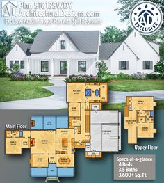 Modern Farmhouse Home Plan gives you square feet of living space with 4 bedrooms and baths.This exclusive acadian inspired farmhouse plan is simply adorable! Bedroom House Plans, Dream House Plans, House Floor Plans, Modern Farmhouse Plans, Farmhouse Homes, Architectural Design Magazine, Acadian House Plans, House Layouts, The Ranch