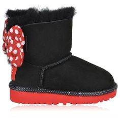 Ugg Kids Sweetie Bow Boots ($100) ❤ liked on Polyvore featuring shoes, boots, black, shearling-lined boots, black shoes, bow boots, leather shoes and bow shoes