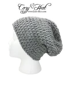 Men Slouch Beanie Hipster Hat is fun cozy addition to your style. Made with extra stretch in mind – relaxed fit. Hand Crocheted in many sizes from toddler to adult.