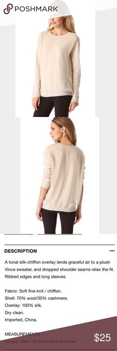 """Vince Silk Chiffon Overlay Sweater Soft and Cozy but still polished and professional, crew neck. 25""""pit to pit. Details of fabric in photos. Worn several times over the past two years, just dry cleaned in excellent used condition. Size tag is missing so I'm estimating the size.  Fits slightly oversized.  Latte color Vince Sweaters Crew & Scoop Necks"""
