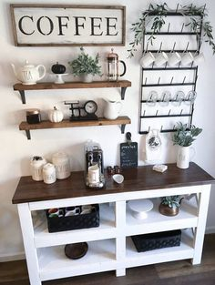 Awesome Coffee Bar Ideas that Will Makes All Coffee Lovers Falling in Love TAGS: Coffee bar ideas, Coffee station kitchen, DIY Coffee bar in kitchen, Farmhouse coffee bar, Keurig station coffeebarsinkitchen Coffee Station Kitchen, Coffee Bars In Kitchen, Coffee Bar Home, Home Coffee Stations, Coffee Bar Ideas, Coffee Bar Station, Tea Station, Wine And Coffee Bar, Coffee House Decor