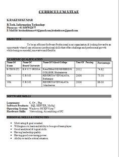 Latest Resume Format For Freshers Engineers Pdf