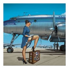 Romain Hugault - Pin-Up wings - Chloé & Lockheed Constellation Pinup Art, Pin Up Posters, Art Deco Posters, Nose Art, Pt Cruiser, Airplane Art, Aviation Art, Retro Art, Retro Pin Up