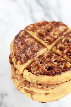 caramelized coconut banana bread waffle french toast // sub flours for coconut/almond mix for Paleo Delicious Desserts, Yummy Treats, Yummy Food, Coconut Banana Bread, Coconut Milk, Chefs, Waffle Iron Recipes, Little Lunch, Half Baked Harvest