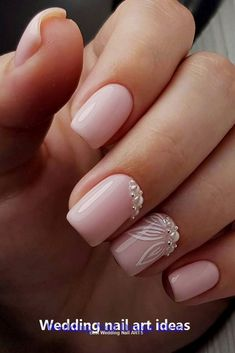 35 simple ideas for the design of wedding nails - . - Minimal , 35 simple ideas for designing wedding nails - - Simple Wedding Nails, Wedding Nails Design, Simple Nails, Pink Wedding Nails, Wedding Nails For Bride, Wedding Makeup, Bride Nails, Prom Nails, Flower Nail Designs