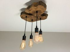 Small Modern Live-Edge Olive Wood Light Fixture von 7MWoodworking