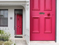 A pink front door is also echoed in shutters and an outdoor storage bin