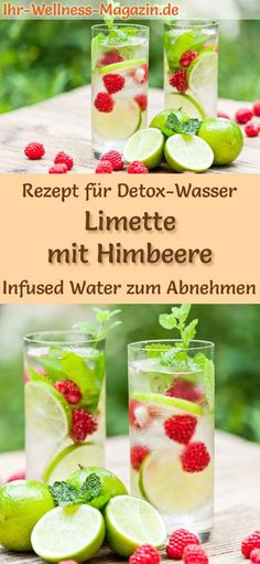 Limetten-Himbeer-Wasser - Rezept für Infused Water - Detox-Wasser Detox Water - Recipe for lime-raspberry water: Infused Water helps you lose weight, is healthy, has virtually no calories, dehydrates, Lime Recipes, Infused Water Detox, Law Carb, Bebidas Detox, Digestive Detox, Veggie Juice, Lemon Diet, Fat Foods, Detox Waters