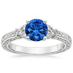 Platinum Sapphire Adorned Trio Diamond Ring from Brilliant Earth