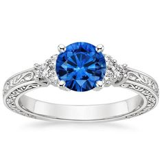 18K White Gold Sapphire Adorned Trio Diamond Ring from Brilliant Earth