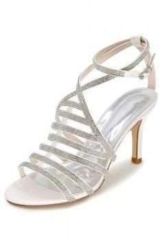 4850b43cc8e Sandales gladiateur blanches à talon élégantes ornées de strass  scintillants pour soirée mariage pas cher sur