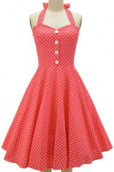 Vintage Halterneck Polka Dot Button Design Women's Dress Vintage Dresses | RoseGal.com Mobile