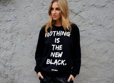 """For the guy or gal who wants to make a serious statement: """"Nothing is the new black"""" crew by Idle.Wild, available at Sir and Madame in Hyde Park."""