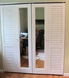 Louvered And Mirrored Bifold Doors. Fixed Plantation Louver Doors Frame Out  A Pair Of Mirrored Door Do Give Just The Right Amount Of Mirror And Needed  ...