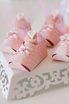 Cute Shoe Favor Boxes in this Spring Garden Baby Shower with Lots of Really Cute Ideas via Kara's Party Ideas KarasPartyIdeas.com #springparty #gardenbabyshower #gardenpa...