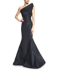 Structured+One-Shoulder+Mermaid+Gown,+Midnight+by+Zac+Posen+at+Bergdorf+Goodman.