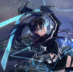 Black★Rock Kyojin - twintails, twin tails, armor, angry, black hair, shingeki no kyojin, crossover, warrior, emotional, sexy, anime, female, weapon, hot, twin tail, twintail, black rock, girl, evil, fighting, black rock shooter, sinister, cute, fight, mad, sparks, long hair, attack on titan, float, anime girl, blade, glow