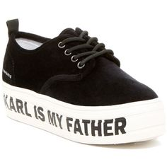 ELEVENPARIS Sky Karl Sneaker ($65) ❤ liked on Polyvore featuring shoes, sneakers, black fab, laced sneakers, black platform sneakers, black platform shoes, round toe sneakers and platform trainers