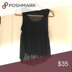 BCBG black flowy tank Perfect for a night out with jeans and heels. Cotton and polyester front, sheer silk back.  Dry Clean. BCBGMaxAzria Tops