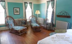 Rooms at the Balsam Mountain Inn ... Corner rooms are always popular, and bedsitting room 200, situated just over the library and off the second floor porch, is a favorite. Twig chaise longues, a twig headboard and a shower bath are key elements of this room.