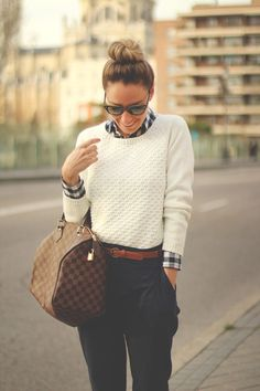 White sweater,louis vuitton bag and navy pant