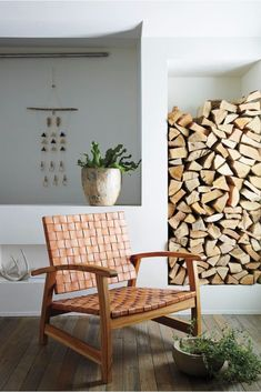 The Leather Woven Chair - Wood logs storage