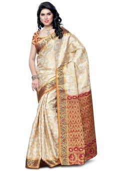 Style-Traditional Saree Colour :Off White*Marun Border Fabric: Art Silk,Occasion: Festive,Daily wear Indian Silk Sarees, Art Silk Sarees, Golden Saree, Saree Jewellery, Traditional Silk Saree, Ethnic Wear Designer, Kanchipuram Saree, Indian Ethnic Wear, Saree Blouse Designs