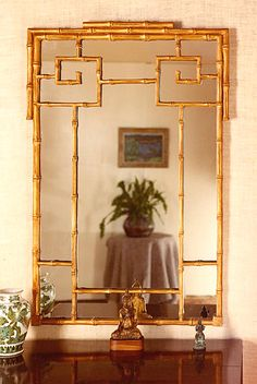 Chinese Bamboo Gold Leaf Mirror: A delicate version of the larger Oriental bamboo motif in old gold leaf. 33