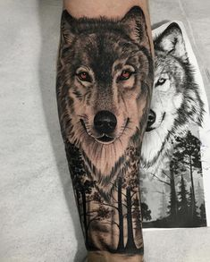 Wolf tattoo ideas are a representation of the need to trust our hearts & minds. Here is a collection of some of the best wolf tattoos which are really cool. Wolf Tattoo Forearm, Tribal Wolf Tattoo, Small Wolf Tattoo, Wolf Tattoo Design, Tattoo Wolf, Animal Sleeve Tattoo, Lion Tattoo Sleeves, Animal Tattoos, Sleeve Tattoos