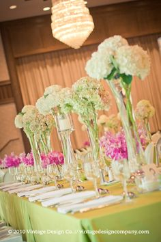 Hydrangea Tall Wedding Centerpieces at The Granite Club -- my Mom may still have some of these tall vases!