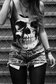 Grunge. Tights. Shorts. Skeleton Tank Top.  Cute Outfit.
