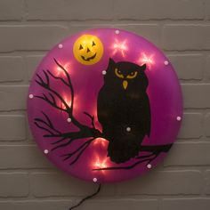 Our 14 inch diameter Owl window decoration is a perfect and simple addition for an eerie Halloween look this season.