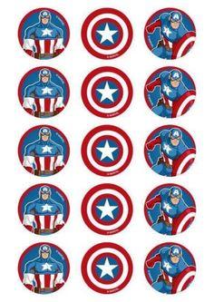 cumpleaños temática de Capitán America Pastel Capitan America, Captain America Birthday, Captain America Party, Captain American, 1 Image, 4th Birthday Parties, Cake Toppers, Superhero Silhouette, Avenger Cake