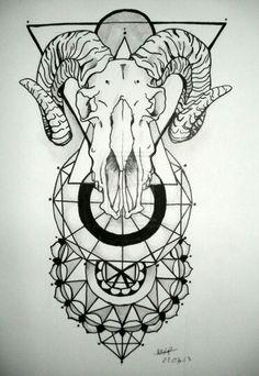 Ram skull with geometric patten tattoo idea