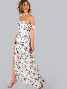 Vestido con estampado de flor y hombro al aire-(Sheinside)