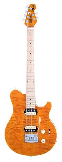 Ernie Ball Music Man Axis Super Sport Vintage Tremolo Electric Guitar, Trans Gold