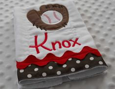 How Cute!!! BuRP CLoTH with appliqued Baseball and Glove personalized with baby's name. $13.49, via Etsy.