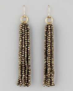 Nest Beaded Tassel Earrings - Neiman Marcus--I would add a bead capI think these would shimmy and flow well. Beaded Tassel Earrings by Nest at Neiman Marcus.how to make a seed bead tasselStrands of faceted pyrite.Valreas Drops - Try this with the tex Beaded Tassel Earrings, Tassel Jewelry, Beaded Earrings, Wire Jewelry, Earrings Handmade, Beaded Jewelry, Handmade Jewelry, Beaded Bracelets, Jewellery Box