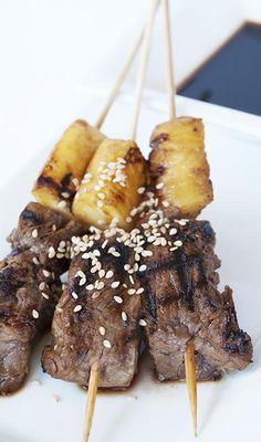 Beef Pineapple Teriyaki Skewers / @DJ Foodie / DJFoodie.com