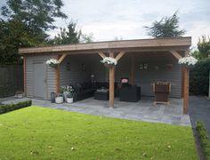 Tuinhuis met overkapping - Nieuws - Wonen.nl Garden Art, Garden Design, Garden Ideas, Carport Designs, My Dream Home, Pergola, Shed, New Homes, Outdoor Structures