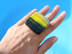 Yellow Rings, Yellow Fashion, Cocktail Rings, Black N Yellow, Statement Jewelry, Cocktails, Gemstone Rings, Rings For Men, Gemstones