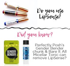 Need some help removing your LipSense? Try Perfectly Posh's Gender Bender chunk or Micellar Tonic!  Wet your washcloth, rub some Gender Bender on it & then rub it on your lips.  https://amandawohlfelder.po.sh/gender-bender-chunk